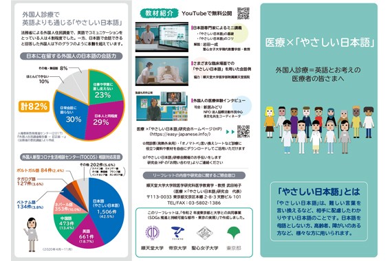 石川教授が制作に参加した、外国人診療に役立つ「やさしい日本語」の医療者向けリーフレットが発行されました